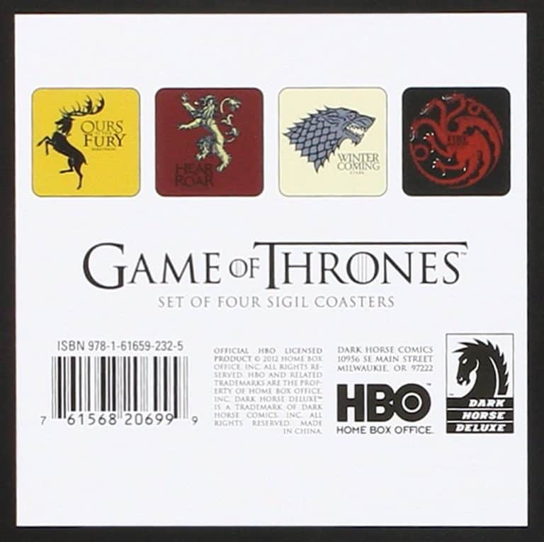 Game of Thrones House Sigil Coaster Set Box Rear
