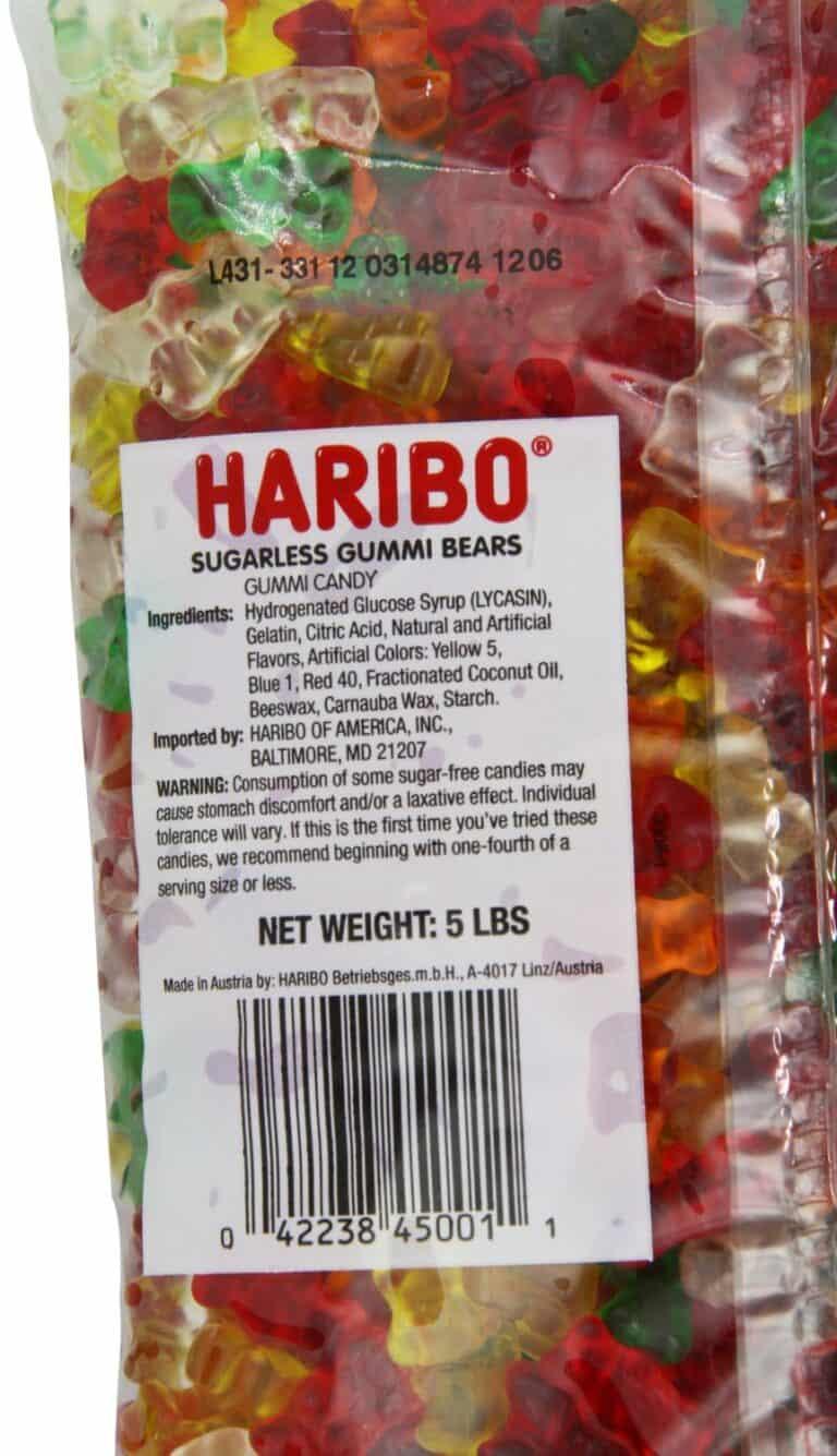 Haribo Sugar Free Classic Gummi Bears Stomach Discomfort Warning Label