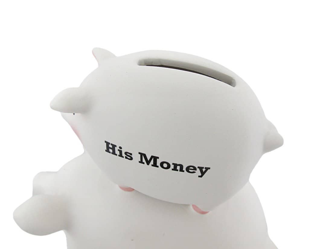 His Money Her Money Ceramic Piggy Bank Where Does His Money Go
