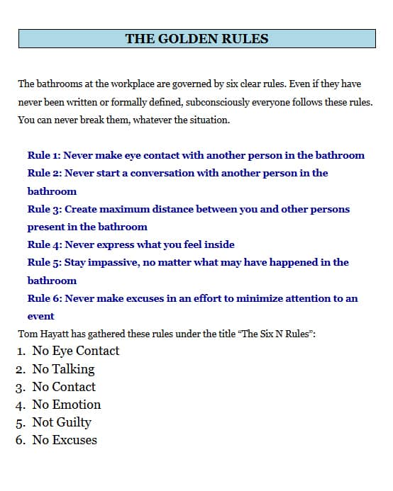 How to Poo at Work Golden Rules Page