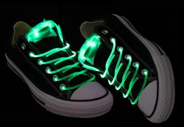 Light Up Flashing Shoelaces Green LEd Rave Party Essential