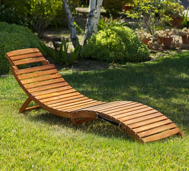 Lisbon Wood Outdoor Chaise Lounge Relax Luxuriously on your Backyard with this Folding Furniture