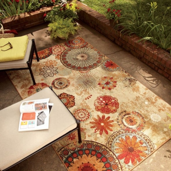 Mohawk Strata Caravan Medallion Rug Rustic Garden and Patio Style