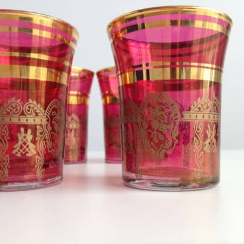 Moroccan Tea Handmade Glasses Pink and Gold Collectors Item
