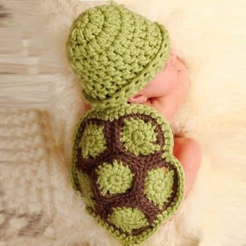 Newborn Turtle Knit Crochet Cute Baby Photo Props