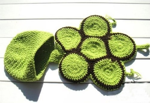 Newborn Turtle Knit Crochet Green Adorable Baby Costume