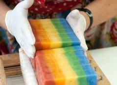 Magical rainbow unicorn poop soap!