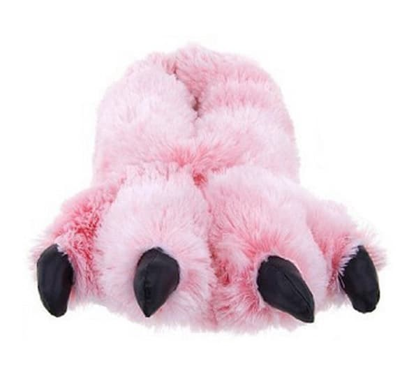 Pink Fuzzy Bear Paw Animal Slippers Cute Novelty Product