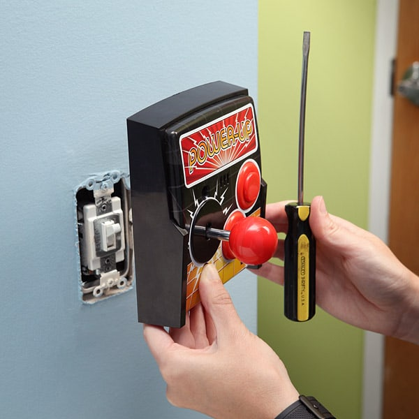 Power-Up Arcade Light Switch Plate Install Novelty Controller with just a Screw Driver