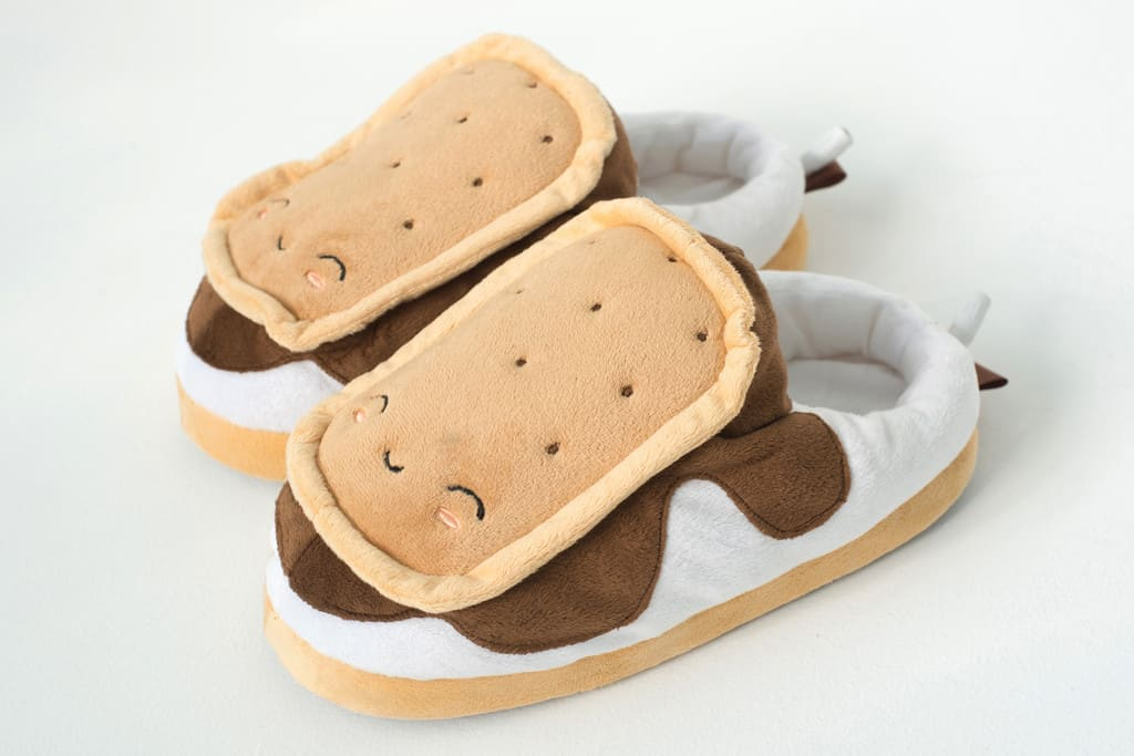 S'mores USB Heated Plush Slippers Smiling Biscuits and Happy Feet