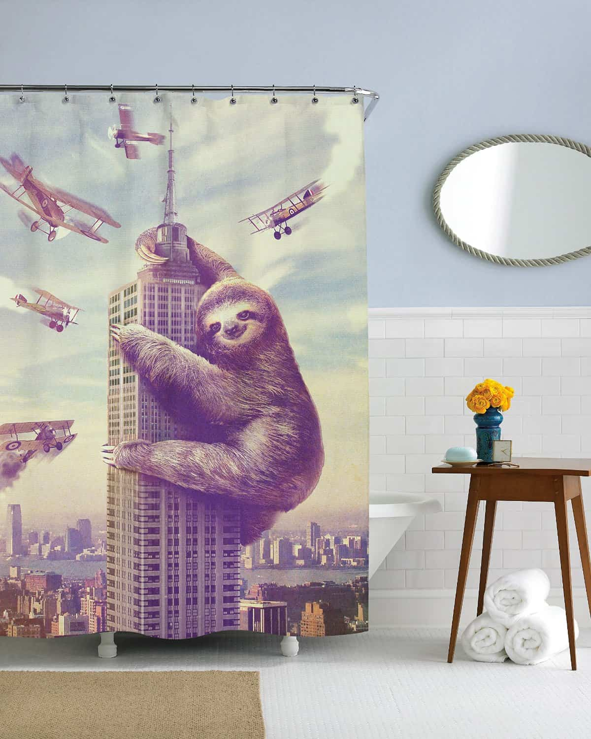 Slothzilla Shower Curtains Funny and Cute Bathroom Accessory for College Dorm