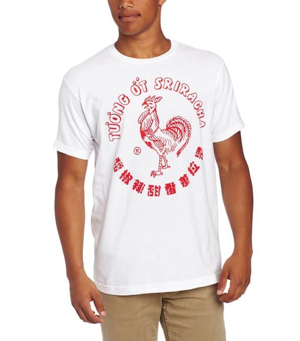 Sriracha Hot Chili Sauce White T-Shirt Rooster Sauce Cult