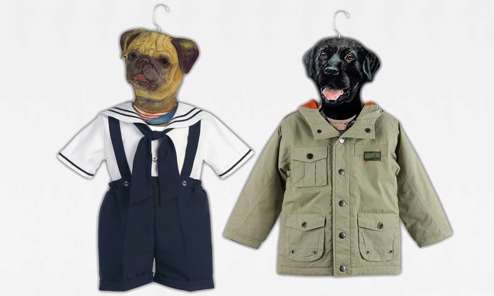 Stupell Animal Clothing Hangers Cute Little Bulldog and Black Labrador