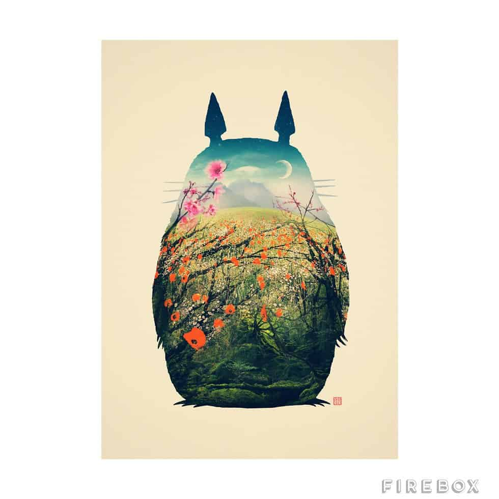 Totoro Art Print Beautiful Anime Character Art Abstract Design