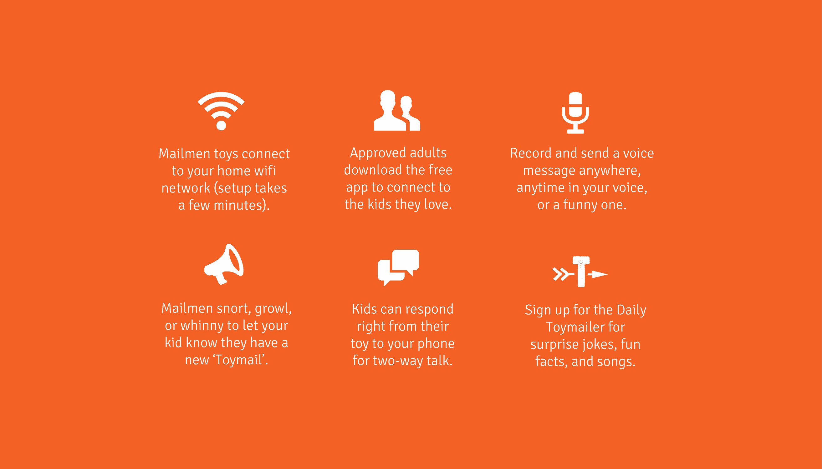 Toymail WIFI Messaging Toy  Features in Orange Background and Minimalistic Icons