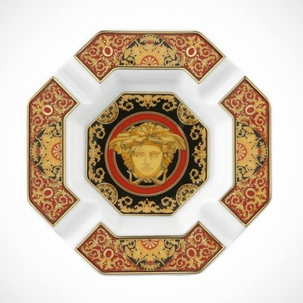 Versace by Rosenthal Medusa Ashtray Red Greek Symbols and Patterns