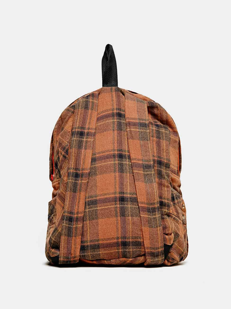 Yokishop Jet Plane Backpack Orange Plaid Pattern