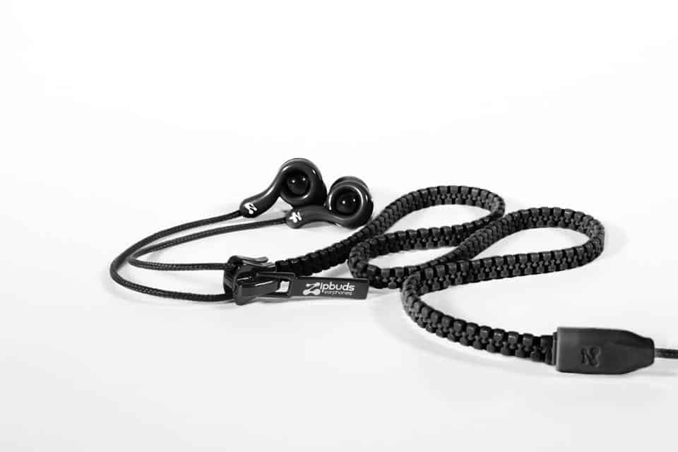 Zipbuds Tangle Free Zipper Earbuds Black Praticality meets Beauty