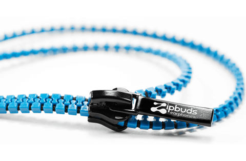 Zipbuds Tangle Free Zipper Earbuds Blue Close Up Cool Design