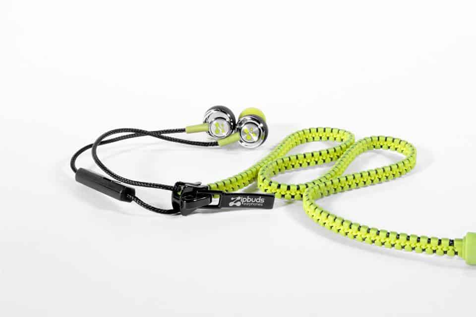 Zipbuds Tangle Free Zipper Earbuds Yellow Green Nature Inspired Design Like a Snake