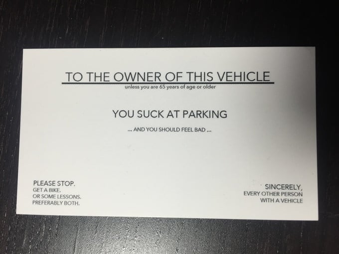 Bad Parking Card Rude Prank