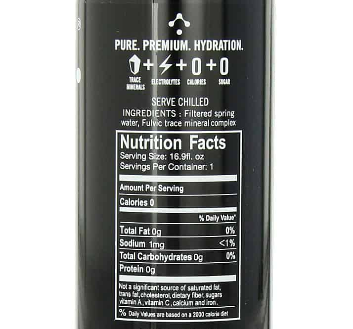 Blk Spring Water Enriched with Fulvic Acid Nutrition Facts