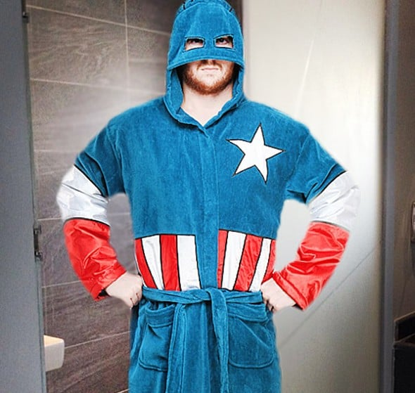 Captain America Terry Robe Buy Funny Bathroom Dad Gift Idea