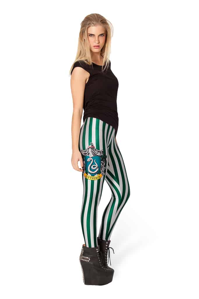 Harry Potter Striped Leggings White and Green Slytherin