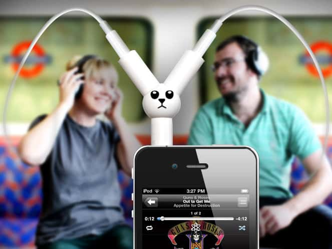 Jack Rabbit Headphone Splitter Listen to iPhone Together Techie Gift Idea