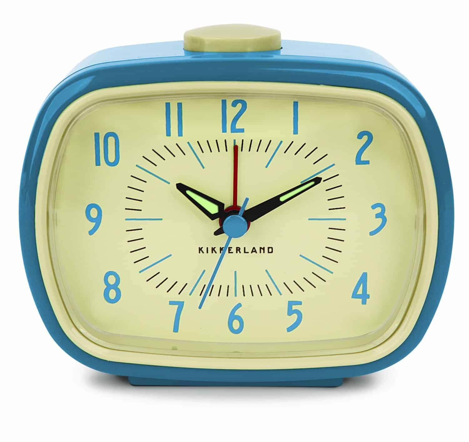 Kikkerland Retro Alarm Clock Blue Cool Gift Idea for Old People