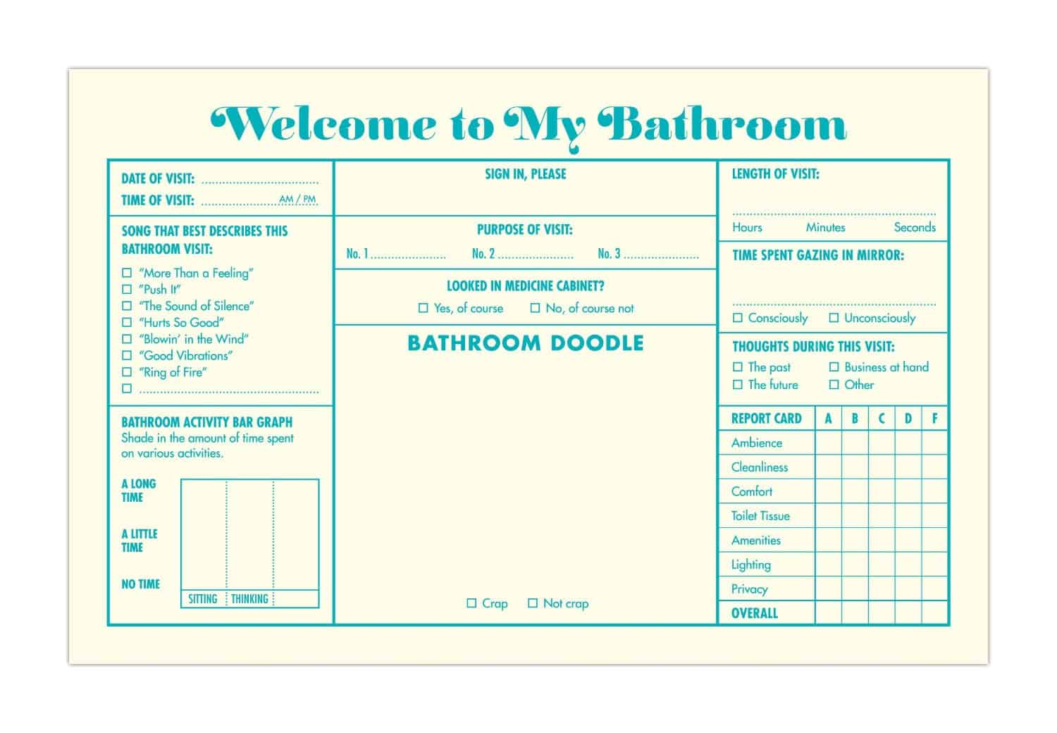 Knock Knock Bathroom Guest Book Question Form Page