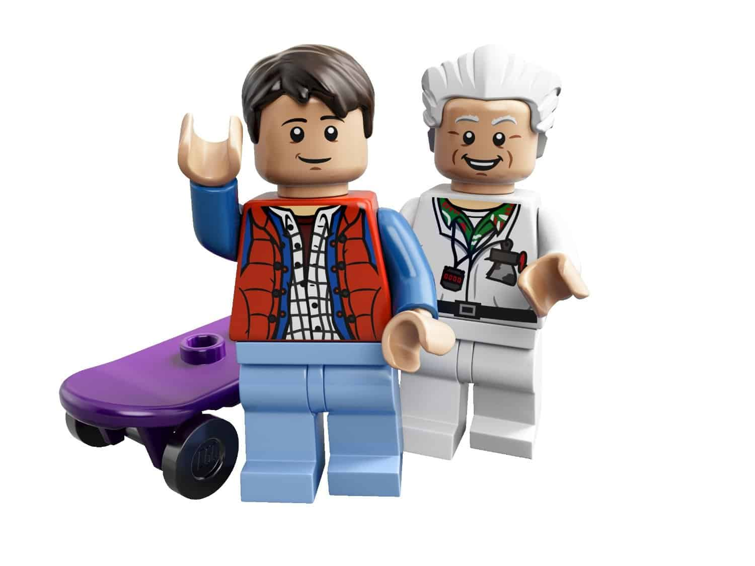 Lego The DeLorean Time Machine Set Doc and Marty with Hover Board Figures