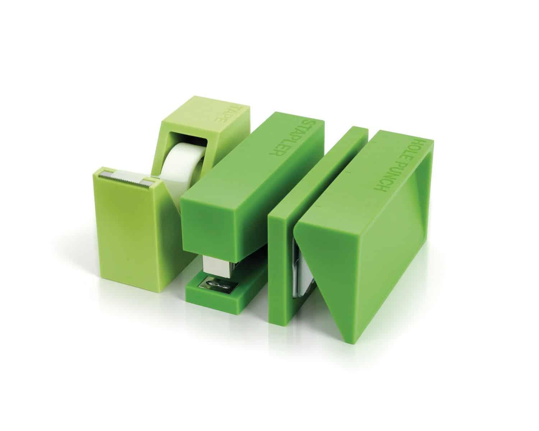 Lexon Buro Desk Accessories Set Green Stapler Puncher and Tape