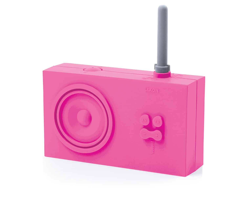 Lexon Tykho Rubber Radio Pink Cute Retro Tech Gift Idea