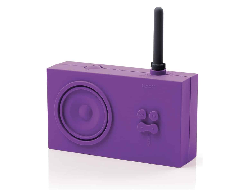 Lexon Tykho Rubber Radio Purple Hip Music Box