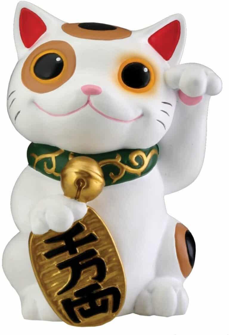 Maneki Neko Japanese Lucky White Cat Cute Money Making Statue