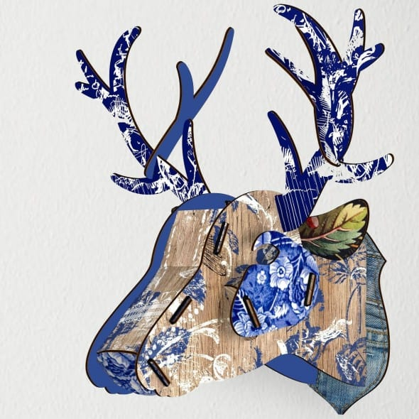 Miho Deer Head Trophy Blue Abstract Art