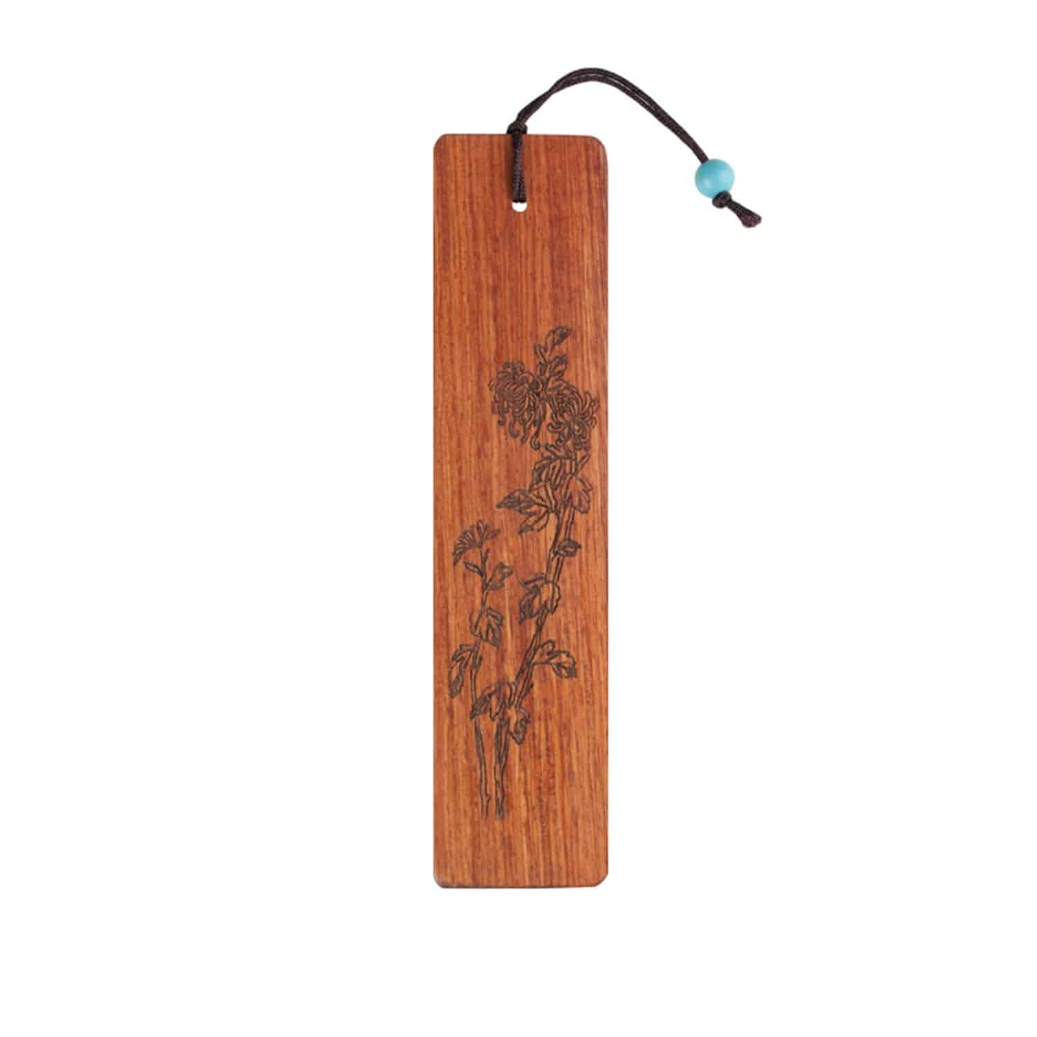 Olina Handmade Natural Wood Bookmark Chrysantemum Carving on Rosewood