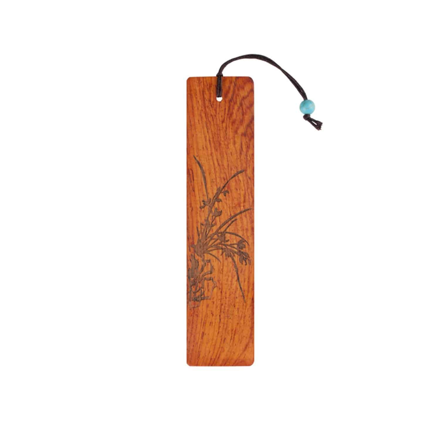 Olina Handmade Natural Wood Bookmark  Orchid Carving on Burmese Sandalwood