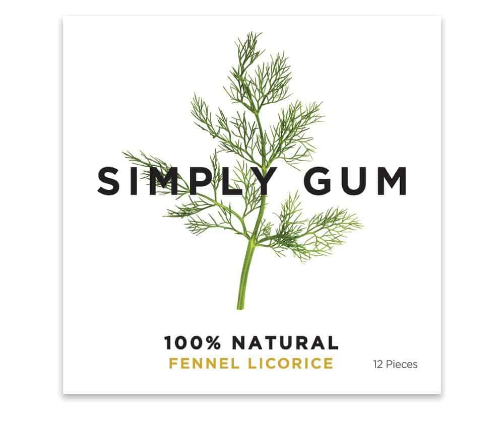 Simply Gum Natural Chewing Gum Fennel Licorice Flavor Organic Candy