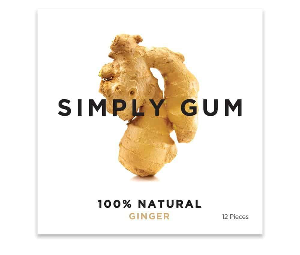 Simply Gum Natural Chewing Gum Ginger Flavor Safer Alternative