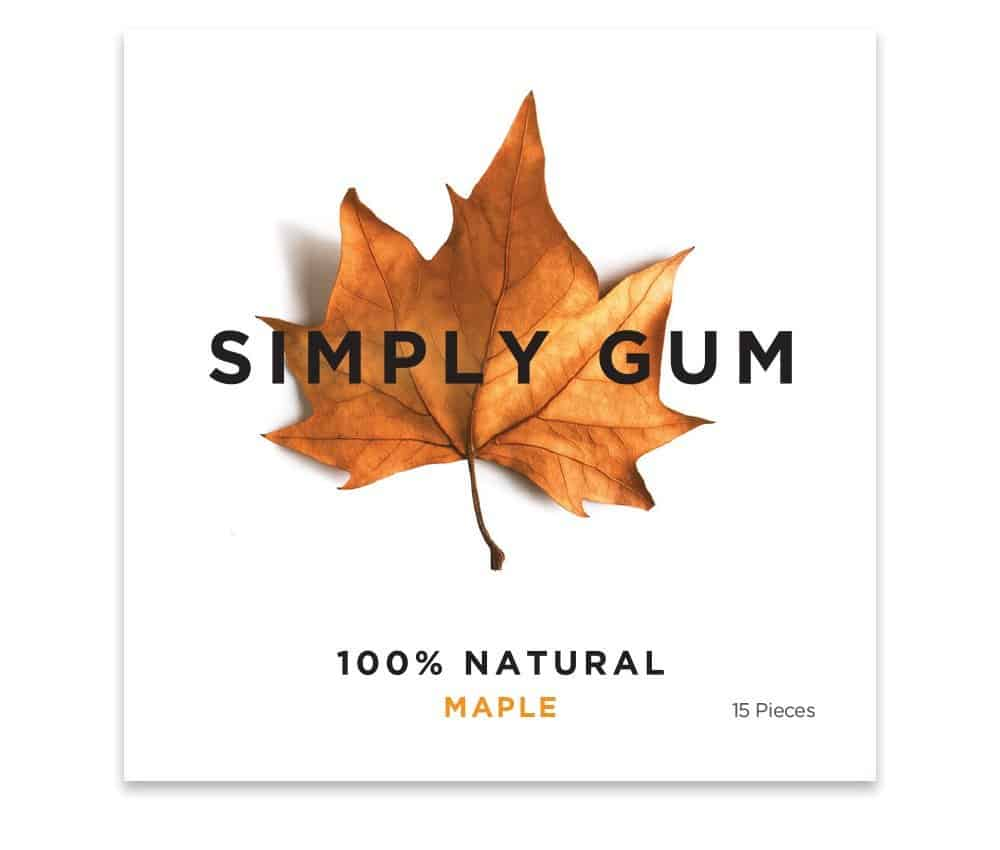 Simply Gum Natural Chewing Gum Maple Flavor Healthier Food Diet