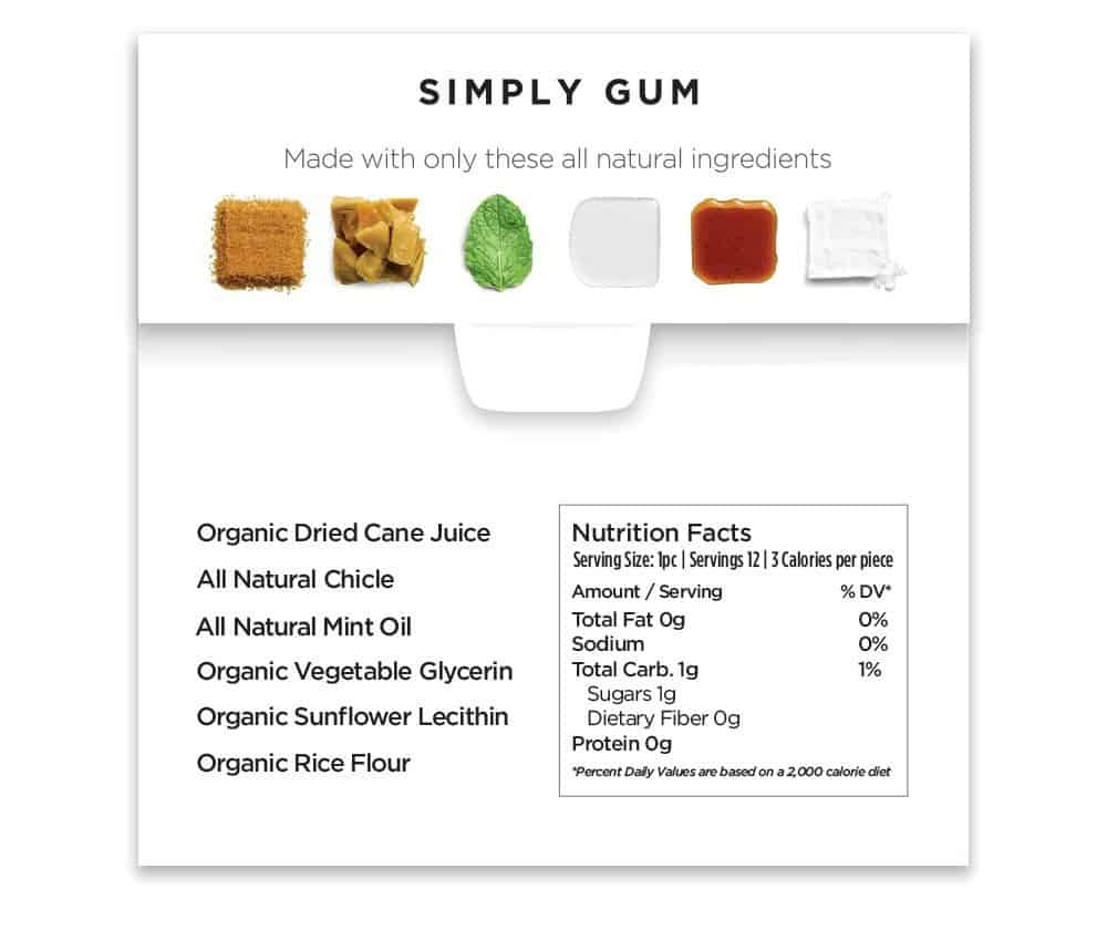 Simply Gum Natural Chewing Gum No Toxins No Artificial Flavoring
