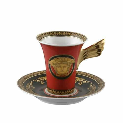 Versace by Rosenthal Medusa Red Plate Collection Cup and Green Saucer