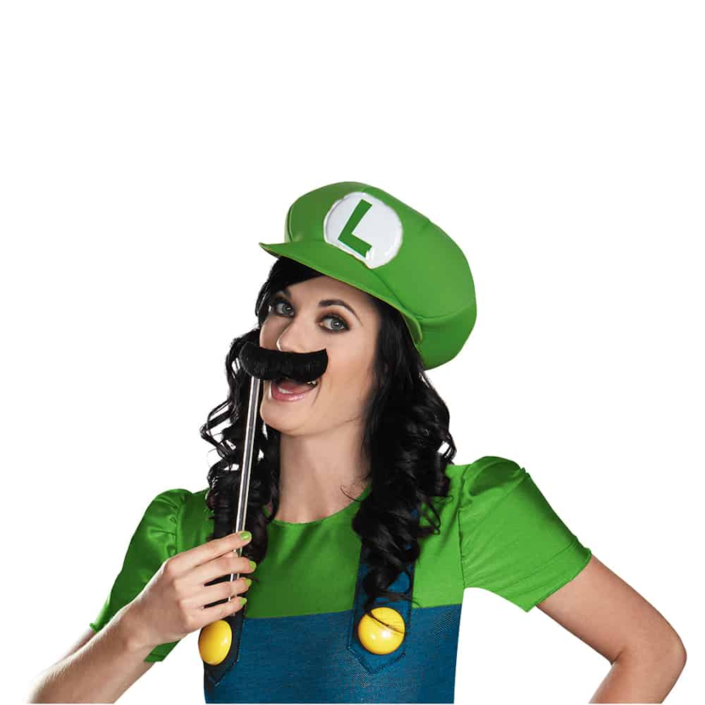 Disguise Luigi Female Deluxe Costume wih Mustache on a Stick
