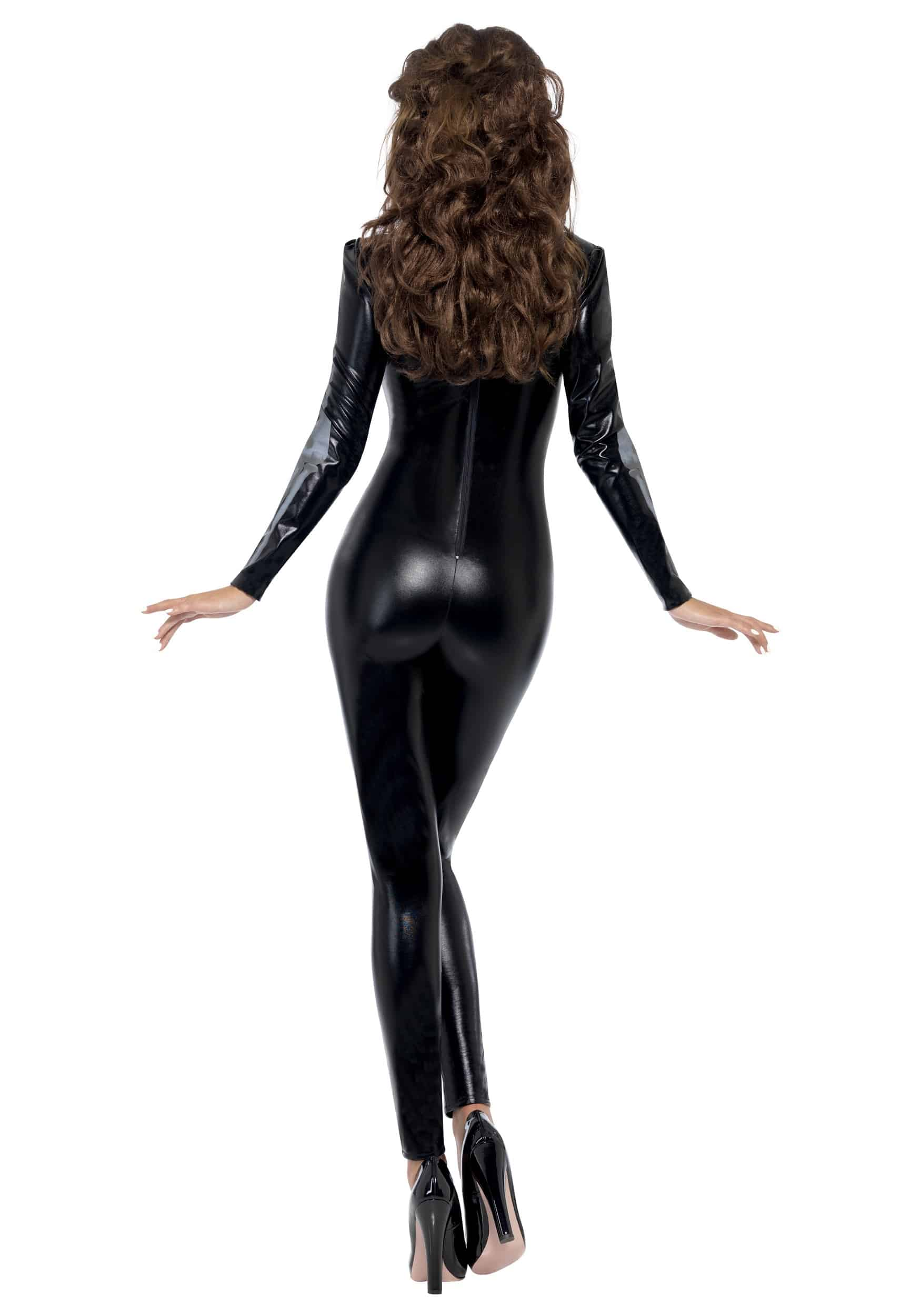 Fever Womens Skeleton Costume Catsuit with Cap Sleeves Back View
