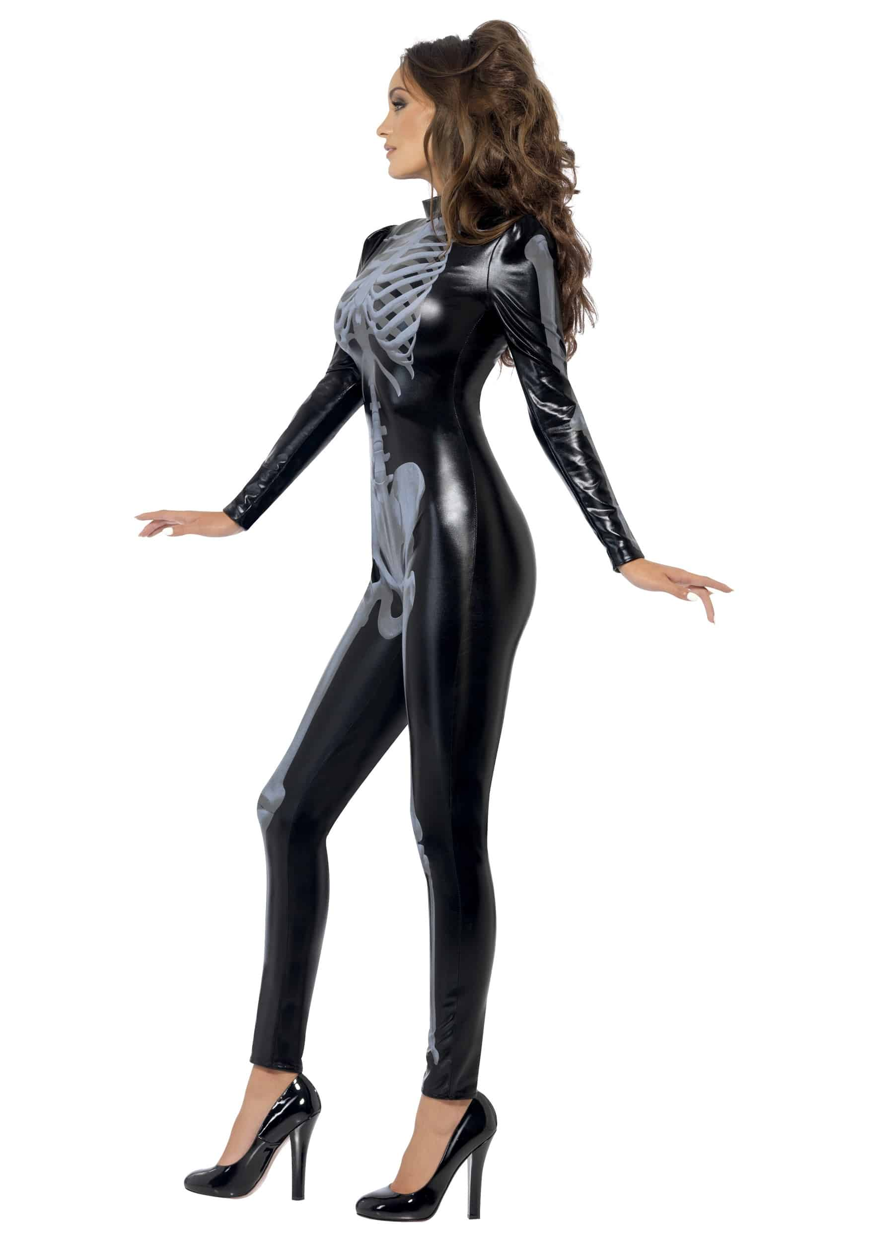 Fever Womens Skeleton Costume Catsuit with Cap Sleeves Simple but Cool Outfit