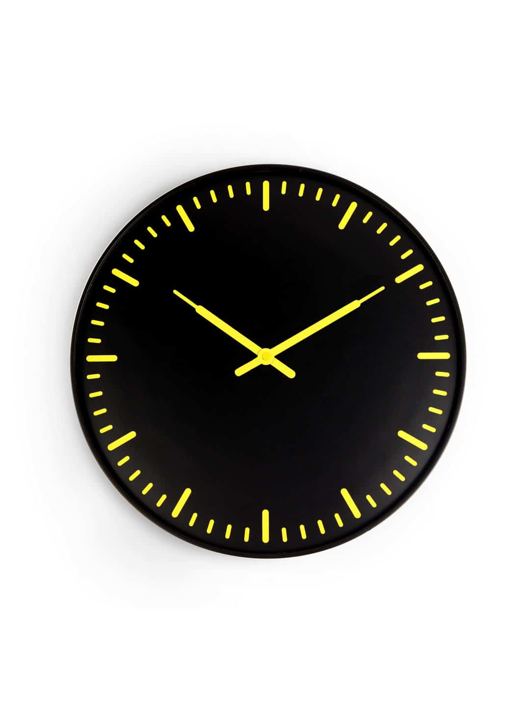 Kikkerland Swiss Station Ultra Flat Wall Clock Black Simple Design