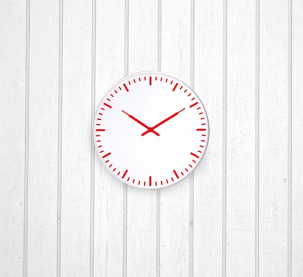 Kikkerland Swiss Station Ultra Flat Wall Clock White Minimalist Design