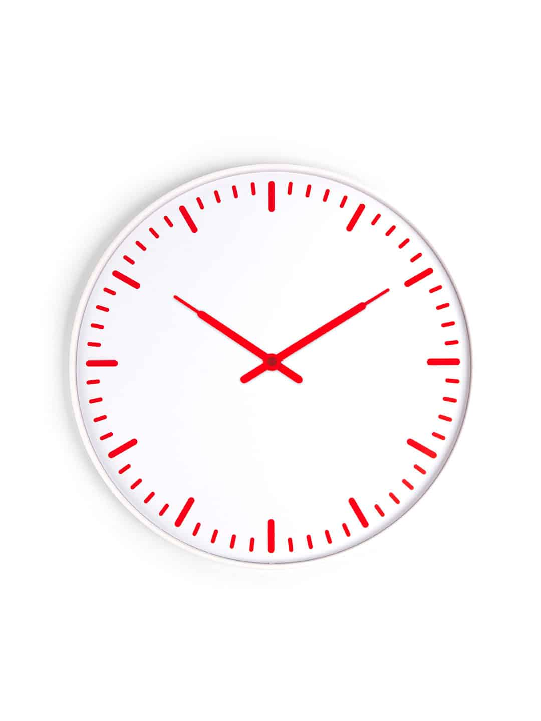 Kikkerland Swiss Station Ultra Flat Wall Clock White and Red Clean Simple Design
